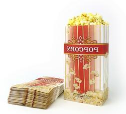 100 Popcorn Serving Bags - 'Large' Standalone Flat Bottom Pa