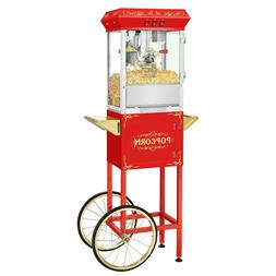 3 Gallon Superior Popcorn Popper Machine with Cart 8 Oz Red