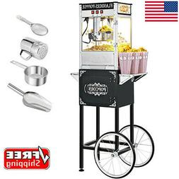 850W Vintage Style Popcorn Machine Maker Popper with Cart an