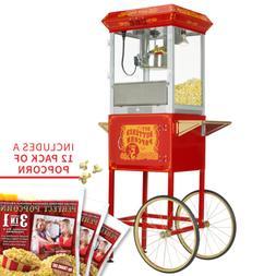 FunTime 8oz Premium Red/Gold Popcorn Popper Machine Maker Ca