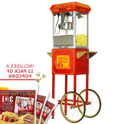 FunTime 8oz Red Popcorn Popper Machine Maker Cart