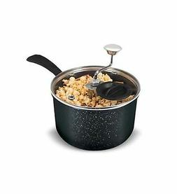 Zippy Pop Black Marble Stovetop Popcorn Popper with Glass Li
