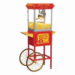 Full Size Red Carnival Style 8-oz Hot Oil Popcorn Machine wi