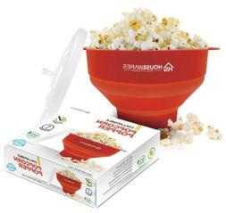 Collapsible Silicone Microwave Hot Air Popcorn Popper Bowl W