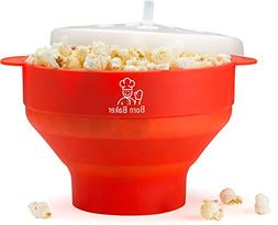 Born Baker Collapsible Silicone Microwave Popcorn Popper wit
