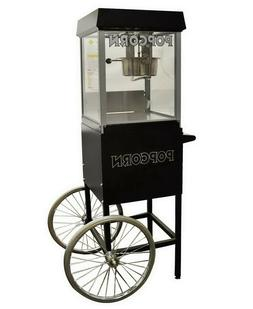 Commercial Popcorn Popper Machine with Cart Black & Silver G