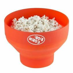 Fat Free Microwave Popcorn Popper Bowl with Cover Collapsibl