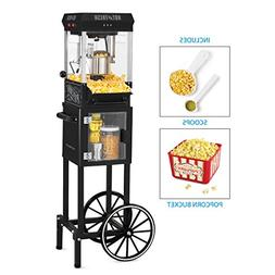 Nostalgia KPM200CTBK Vintage 2.5-Ounce Popcorn Cart with 5-Q