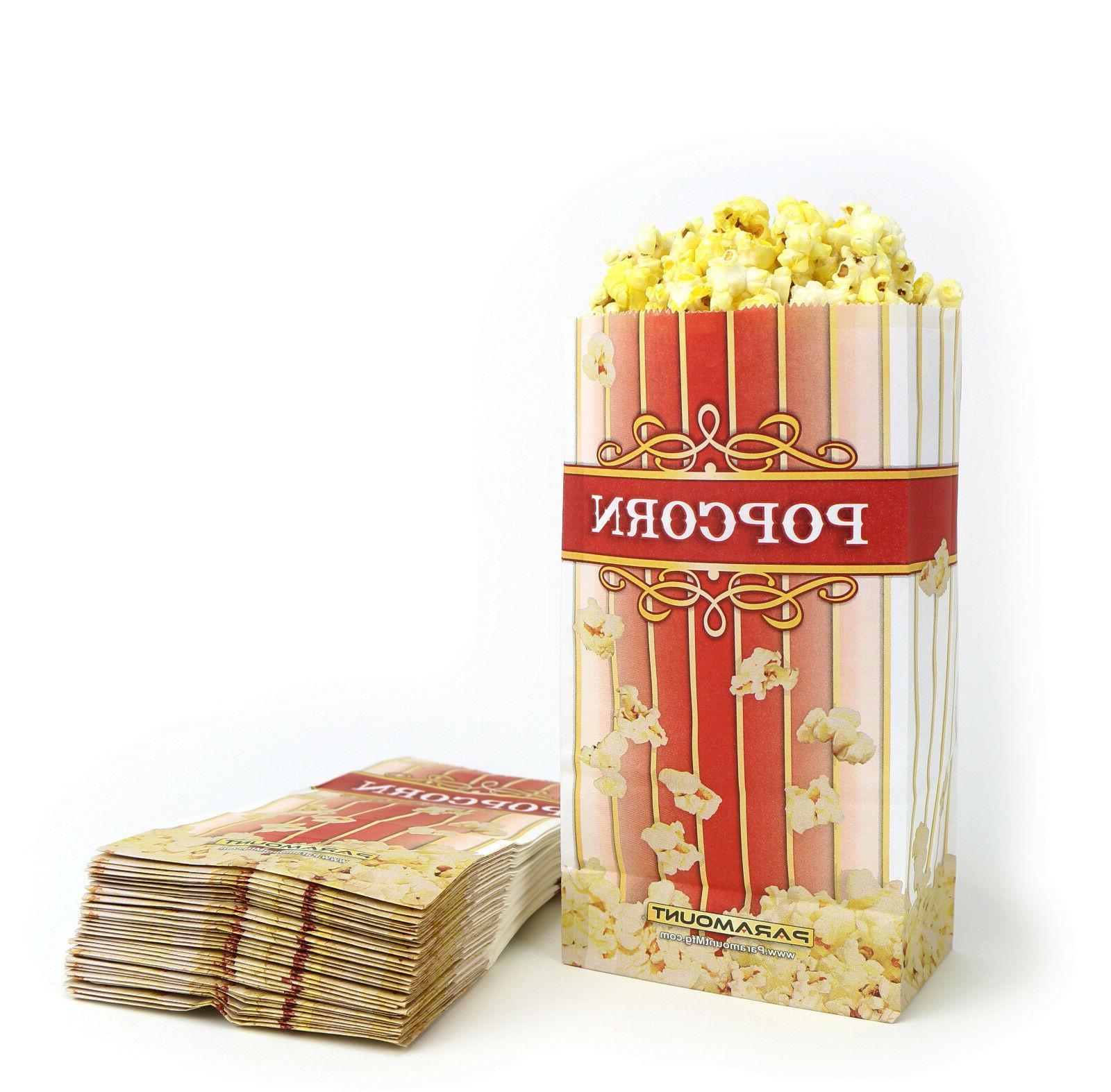 100 popcorn serving bags small standalone flat