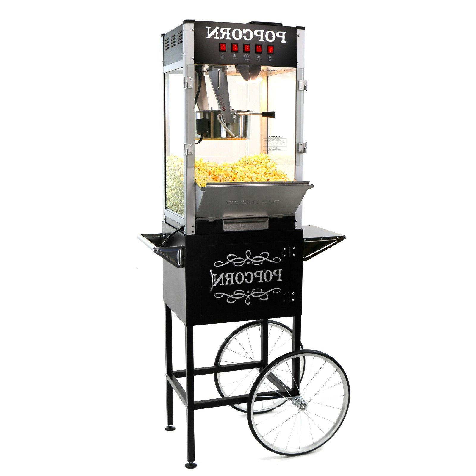16oz commercial popcorn maker machine and cart