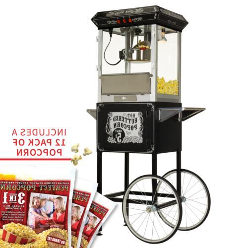 8oz premium black popcorn popper machine maker