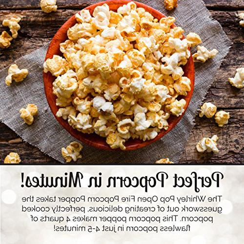 Whirley Popcorn Popper Set with Kit and Seasoning Sampler Great Outdoor Fire Pits, Makes a