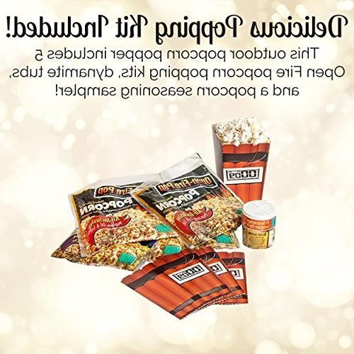 Whirley Open Popcorn – Set with Kit and Seasoning Sampler – Great for Outdoor Fire a Great
