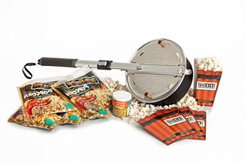 Whirley Pop Open Fire Popcorn Popper – Popcorn Set with Po