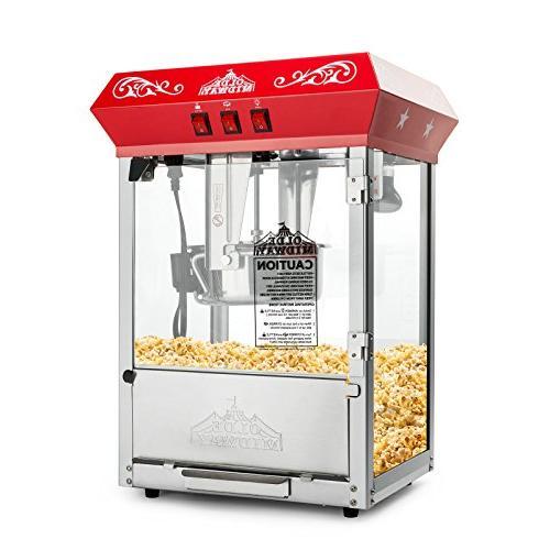 Olde Bar Popcorn Maker with Kettle Red