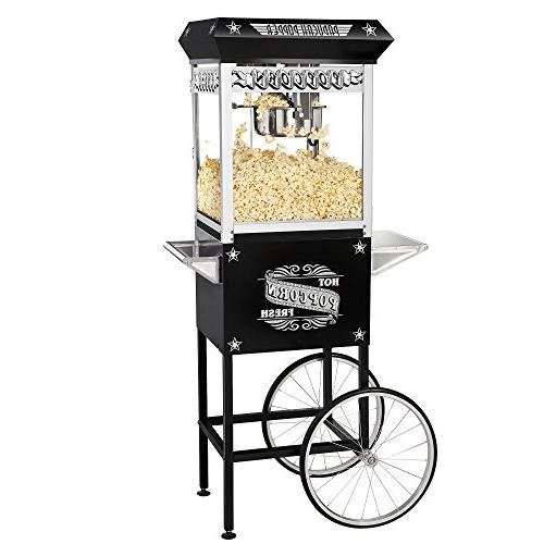 Great Northern Popcorn Black Paducah 8 Ounce Popcorn Machine and Cart