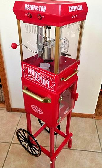 Electric Cart Popper Maker Stand Style Home Kitchen Red