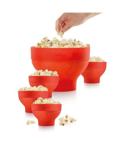 extra large popcorn maker and 4 bowls