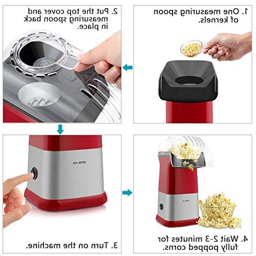 OPOLAR Hot Air Oil Maker Measuring and Removable Top Cover, Ideal Watching Movies Parties 1200W,
