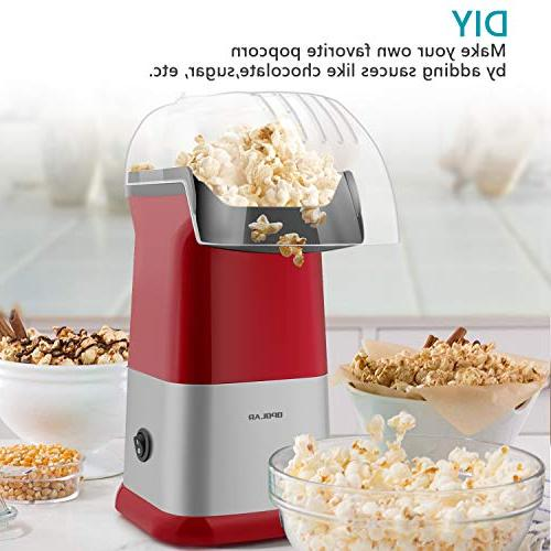 OPOLAR Fast Hot Air Popcorn Oil Measuring Cup Top for Watching and Parties 1200W,