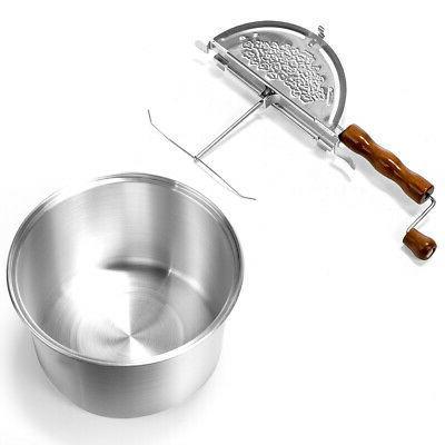 Hand Stirring Popcorn Maker Popper Stove Top w/ Wooden