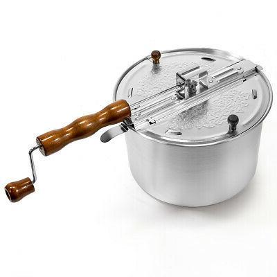 hand crank stirring stovetop popcorn maker popper