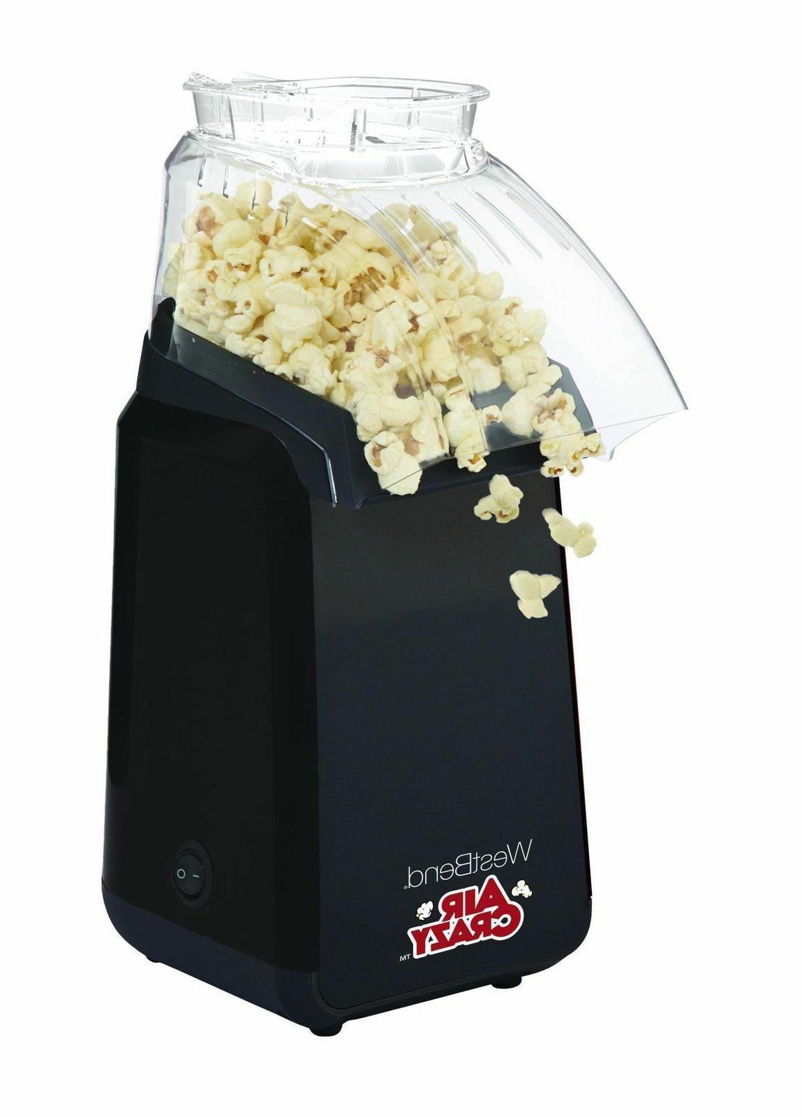 Hot Air Popcorn Popper, Color Black West 82418BK Air Crazy NEW