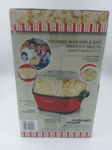 Hamilton Beach Hot Oil Popcorn Popper Pops 24 Cups