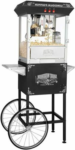 Lincoln 8 oz. Antique Black Popcorn Machine with Cart #1968