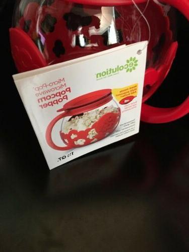 Ecolution Micro Pop Microwave Glass Popcorn Popper Epoca Red Quarts