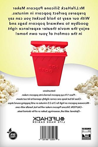 Microwave MrLifeHack BPA FREE Silicone Popcorn Maker Makes Healthy Popped Popcorn in minutes Red