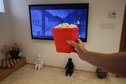 Microwave MrLifeHack BPA Silicone Popcorn Maker - Makes Healthy Hot Air Popped minutes Red