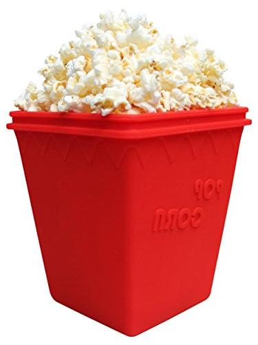 Microwave Popcorn Popper by MrLifeHack - Silicone Maker - Makes Healthy Popped minutes - Dishwasher Safe, Red