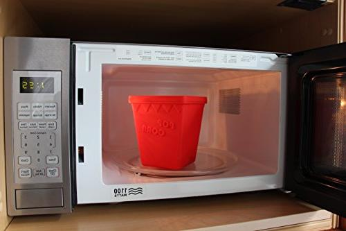 Microwave Popper MrLifeHack FREE Silicone Popcorn Makes Hot Popped Popcorn in minutes Red