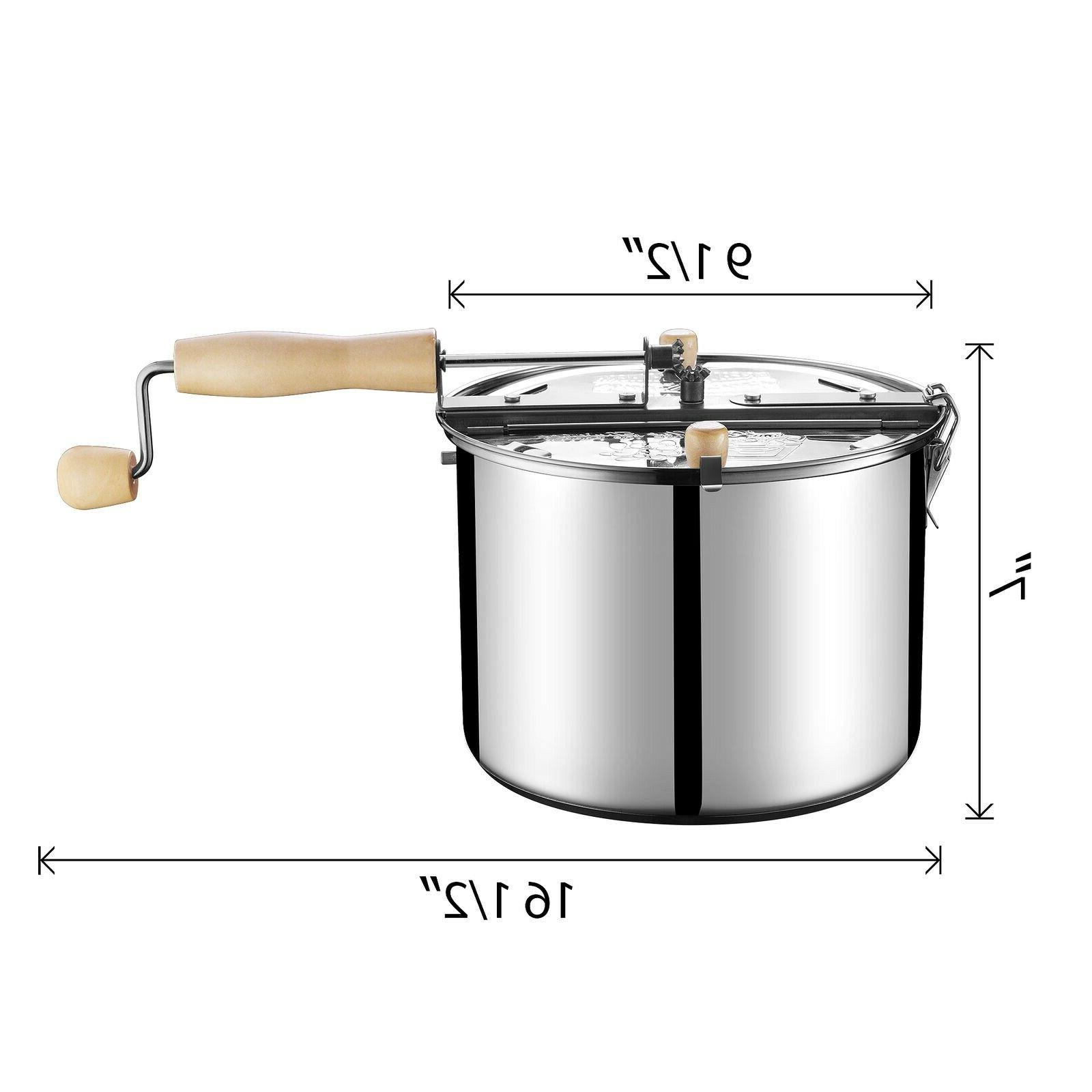 Original Stainless Stove 6 Quart Popcorn Popper by Great