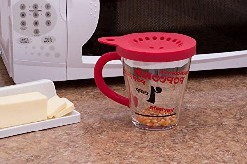 Personal Popcorn 1 Cup Microwave Popcorn Maker with Silicone Handle & Lid- Perfect a
