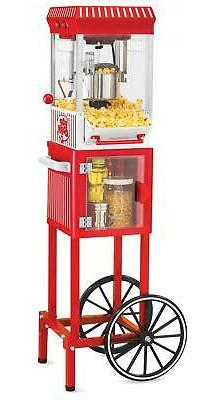 "Popcorn Cart Machine Maker Vintage Style 48"" Tall Stand Comm"