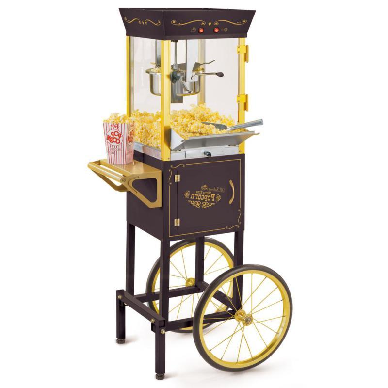 Vintage 8 oz Black Popcorn Machine with Cart/Countertop Movi