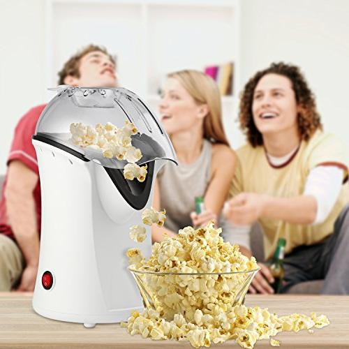 Popcorn Popper, Air Popcorn Maker, Popcorn Machine with Measuring Removable Lid, Healthy Needed