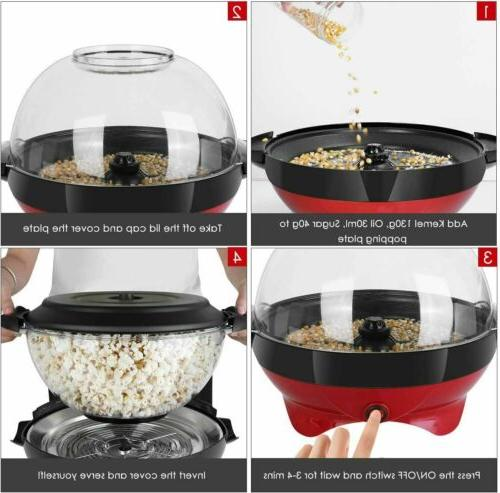 6QT Electric Hot Oil Stirring Popcorn Maker Family