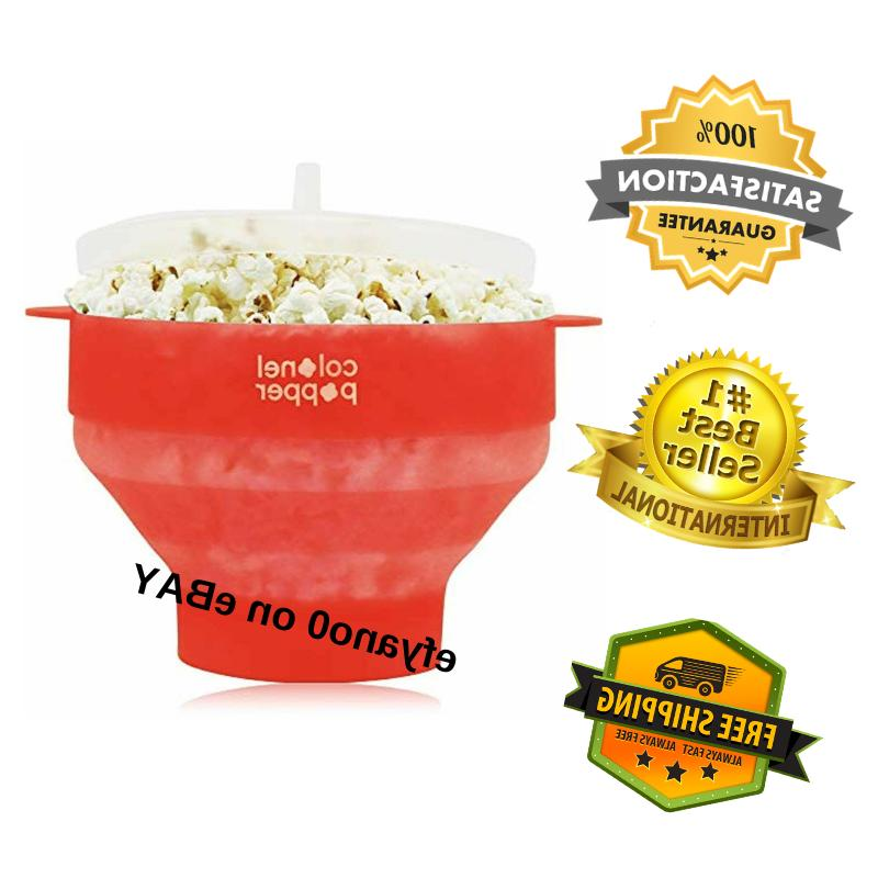 popcorn silicone microwave maker popper collapsible bowl