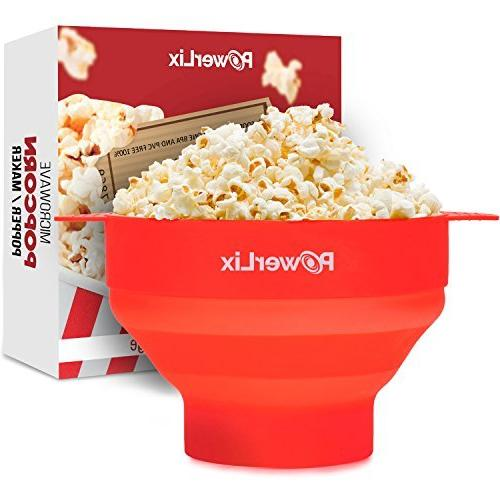 powerlix microwave popcorn popper collapsible silicone bowl