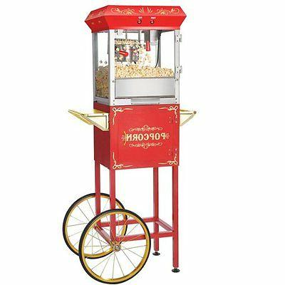 red foundation popper machine cart