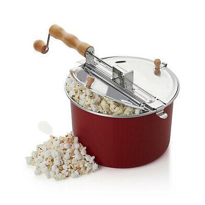 red popcorn maker stovetop kettle popper hand