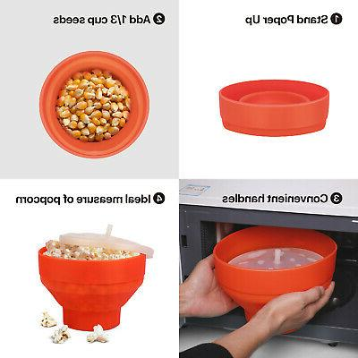 Silicone Microwave Popcorn Maker Bowl,
