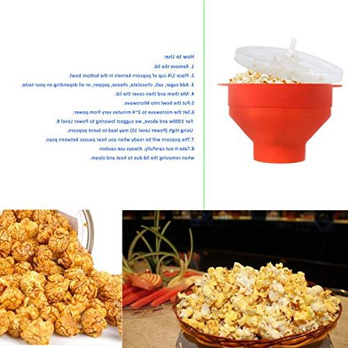 Silicone Microwave Popcorn Popper with - Popcorn Makers with Handles - to - Choice-Red
