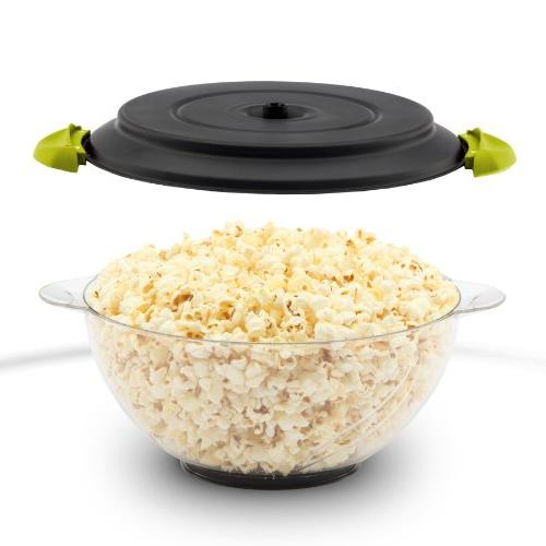 West Crazy Electric Hot Oil Popcorn Popper Stirring Lid for Serving Bowl and Convenient Storage, 6-quart, Green