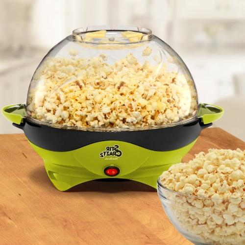 West Bend Crazy Electric Hot Oil Popcorn Machine with Stirring Offers Lid Serving Green