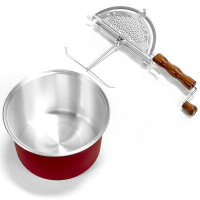 Red Popcorn Maker Kettle Hand Stirring with
