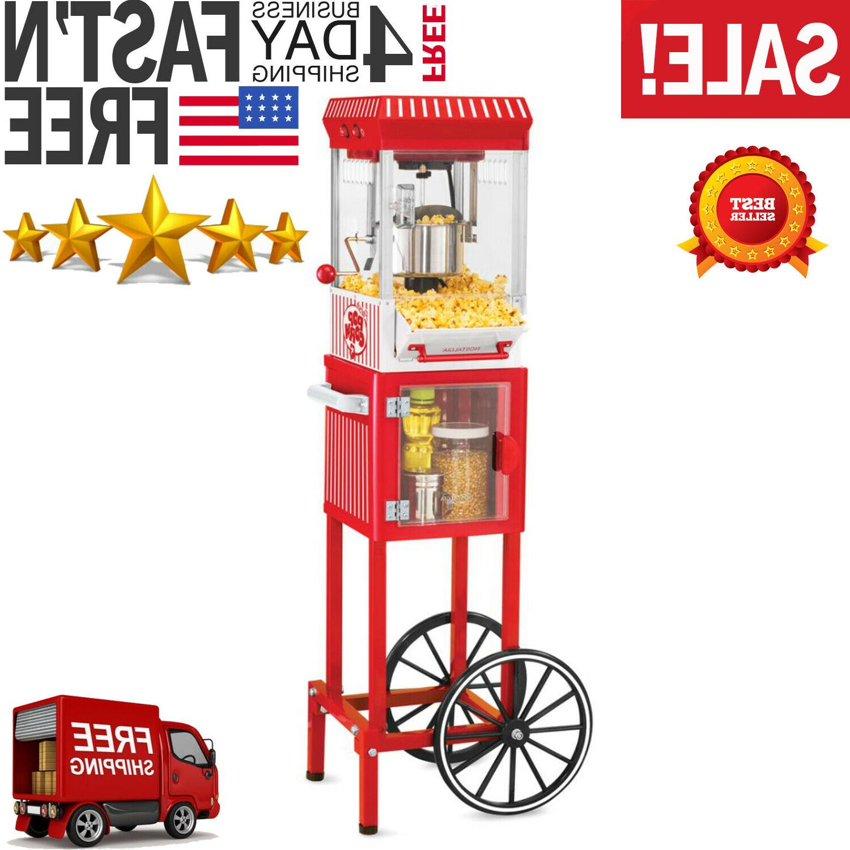 Vintage Red Popcorn Cart Machine Stand Maker Popper Home Mov